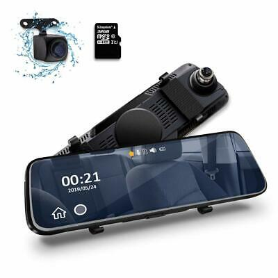 10  HD Dual Lens Car DVR Mirror Dash Cam Front And Rear With 32GB Memory Card UK • 69.99£
