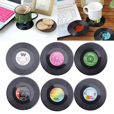 6x Round Vinyl Coaster Vintage Record Cup Drinks Mat Placemat Tableware • 3.36£