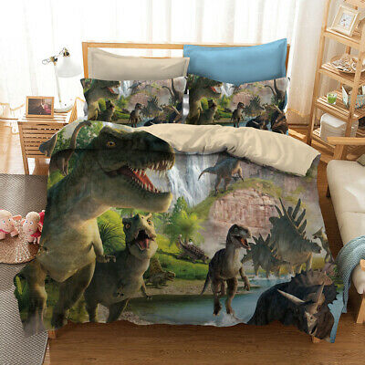 AU39.59 • Buy 3D Dinosaur Jurassic Park Quilt Duvet Doona Cover Set Kid Bedding Set Pillowcase