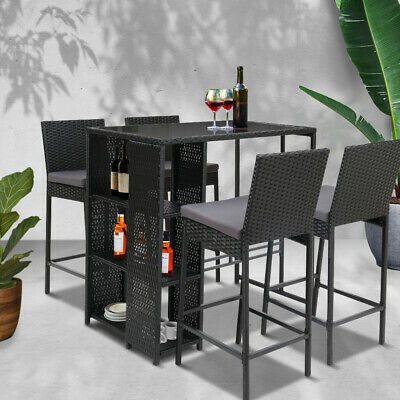 AU499.95 • Buy Gardeon Outdoor Bar Set Table Stools Furniture Dining Chairs Wicker Patio Garden