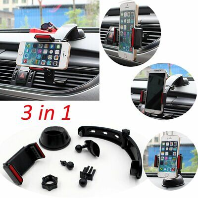 AU11.34 • Buy 3 In1 Car Air Vent Windshield Dashboard Mount Holder For Mobile Phones GPS Black