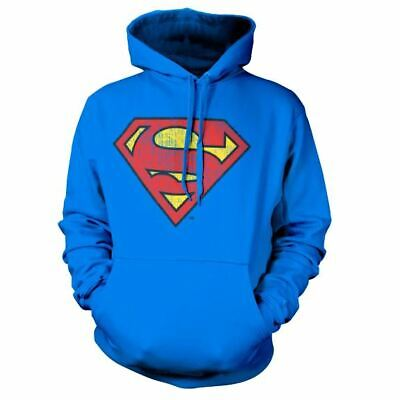 DC Superman Washed Shield Logo Hoodie Sweater - Unisex Pullover Comics Jumper • 34.95£