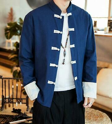 $47.50 • Buy Mens Embroidery Frog Chinese Tunic Suit Tang Suit Cotton Linen Coat Retro Jacket