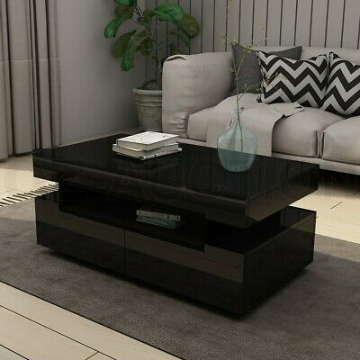 AU179.95 • Buy New Modern Black Coffee Table 4-Drawer Storage Shelf High Gloss Wooden Furniture