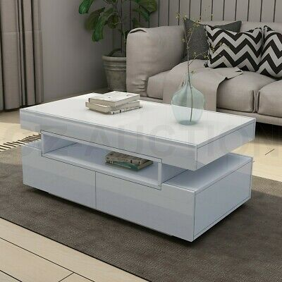 AU189.95 • Buy New Modern White Coffee Table 4-Drawer Storage Shelf High Gloss Wood Furniture