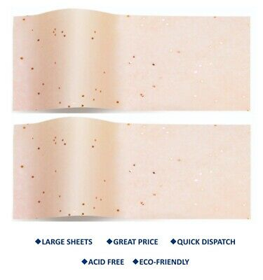 £2.79 • Buy ROSE GOLD ON BLUSH Gemstone Tissue Paper SPARKLY Large Wrapping Paper 50 X 75 Cm