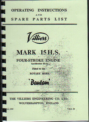 Villiers Mk.15 H.S. (Rotary Hoes Bantam) Engine Instruction Spare Parts Book • 6.50£