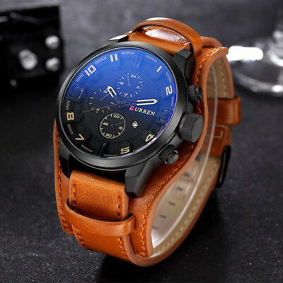 AU18.69 • Buy Fashion Curren Men's Date Brown Leather Black Analog Quartz Sport Wrist Watches