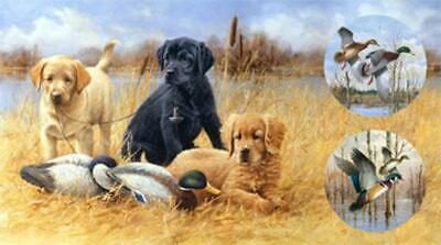 Faithful Friends Fabric Panel Digital Print Hunting Dogs Quilt Shop Quality  • 11.48$