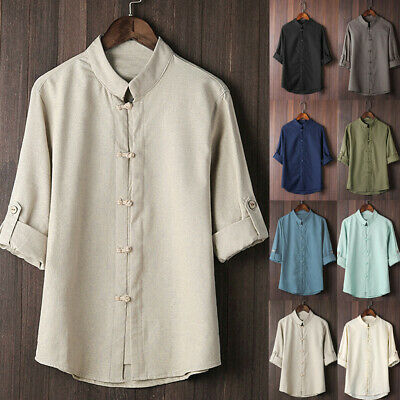 Mens Classic Chinese Style Kung Fu Shirt Tops Tang Suit 3/4 Sleeve Casual Blouse • 8.99£