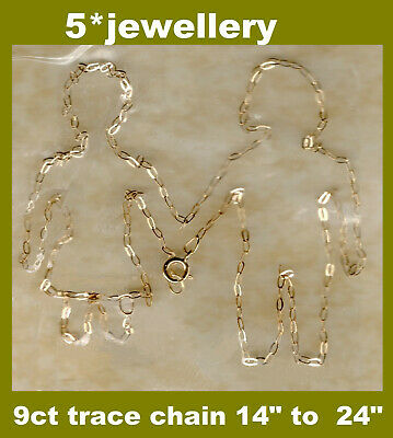 £19.90 • Buy Real 9ct 375 Yellow Gold Solid Fine Trace Nacklace Chain New Not Scrap 16 18 20