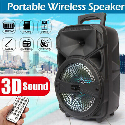 $38.99 • Buy 8  Party Bluetooth Speaker System Led Portable Loud 1000 Watts FM Mode + Remote
