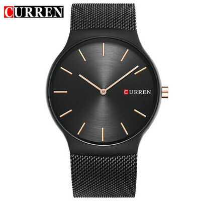 AU19.59 • Buy Men Quartz Watches CURREN Analog Wristwatch Stainless Steel Mesh Band Ultra Thin