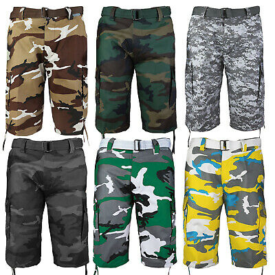 $26.99 • Buy Men's Camo Cargo Military Army Multi Pocket Shorts With Belt