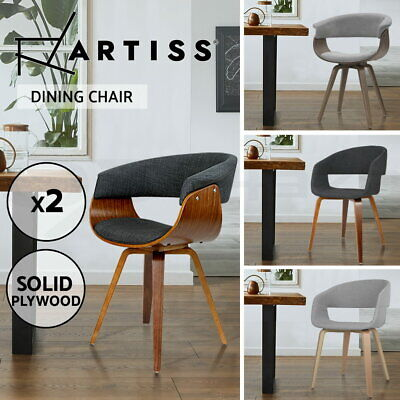 AU201.95 • Buy Artiss Dining Chairs Chair Bentwood Timber Fabric Seat Cafe Set Of 2 4 6 8