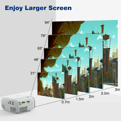 YG200 Mini TFT LCD LED Projector Full HD 1080P Home Theater Cinema USB AV HDMI • 34.93£