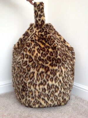 Bean Bag Cover Only Children's Leopard Faux Fur 3 Cubic Ft Size Animal Print New • 23.99£
