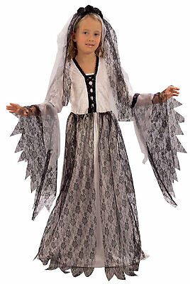 Girls Kids Childs Copse Ghost Zombie Bride Halloween Fancy Dress Costume 4-9 • 22.88£