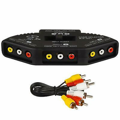 RCA Splitter With 3-Input And 1-Output Audio And Video RCA Switch Box With Cable • 7.99£