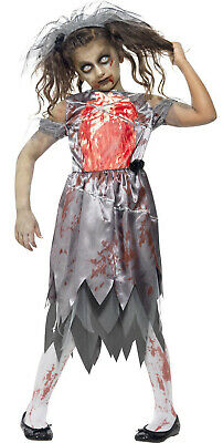 Zombie Corpse Bride Girls Kids Teen Smiffys Halloween Fancy Dress Costume 7-14 • 24.95£