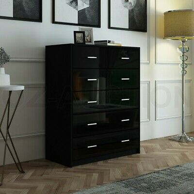 AU209.95 • Buy High Gloss 6 Chest Of Drawers Tallboy Dresser Table Storage Bedroom Cabinet BK