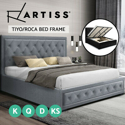 AU349 • Buy Artiss Bed Frame King Single Double Queen Size Gas Lift Base With Storage
