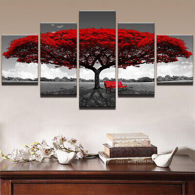 Red Tree Chair Landscape 5 Pieces Canvas Wall Art Poster Print Home Decor • 60.49£