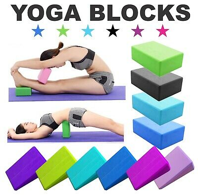 2x Yoga Blocks Pilates Foam Foaming Brick Stretch Health Fitness Exercise Traing • 8.49£