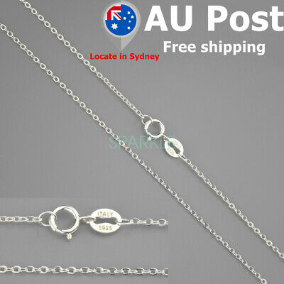 AU13.99 • Buy Genuine S925 Sterling Silver Curb Chain Necklace All Inches Stamped Italy Gift