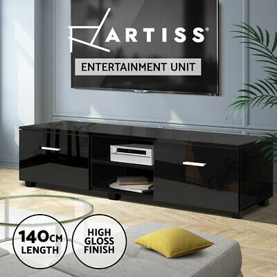 AU129.95 • Buy Artiss TV Cabinet Entertainment Unit Stand High Gloss Storage Shelf 140cm Black
