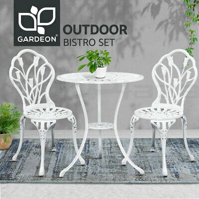 AU206.96 • Buy Gardeon Outdoor Setting 3 Piece Bistro Chairs Table Set Cast Aluminum Patio