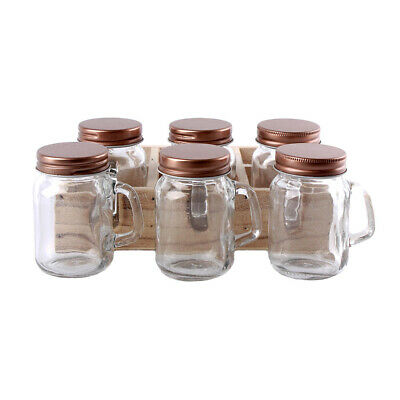 Set Of 6 Mini Mason Jars Featuring Lids And Handles • 10.95£