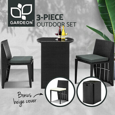 AU229.95 • Buy Gardeon Outdoor Setting Wicker Table Chairs 3 Piece Bistro Set Patio Furniture