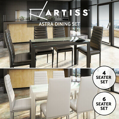 AU209.95 • Buy Artiss Dining Table And Chairs Set Of 4 5 7 Chair Glass Table Black White