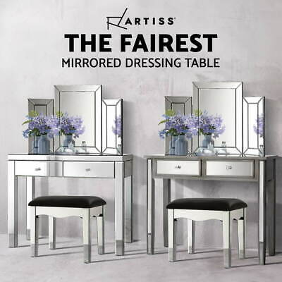 AU139.95 • Buy Artiss Mirrored Dressing Table Console Dresser Mirror Chest Of Drawers Stool