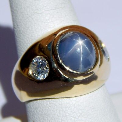 $3427.20 • Buy Natural Star Sapphire & Diamond Gypsy Band Ring 18 Kt Gold Size 8 3/4 A3014
