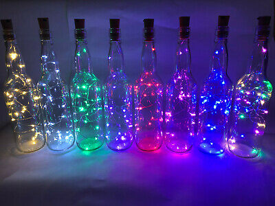 Led Light Up Glass Bottle - 9 Colours - Home Decorative Gift - Weddings, Party • 7.99£