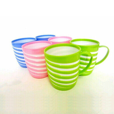 £7.99 • Buy 6 X Reusable PLASTIC MUGS Colourful Drinking Cups Tea Coffee Camping Picnic Kids