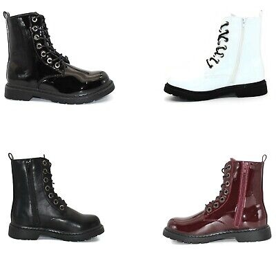 Ladies Lace Up Block Heel Military Side Zip Ankle Boots Shoes Uk Size 3-8 • 19.99£