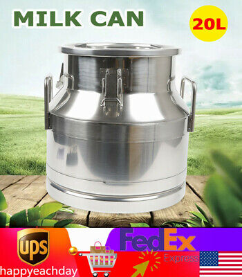 $92 • Buy 20L/5.25Gallon Stainless Steel Milk Can Wine Pail Bucket Tote Jug Silicone Seal