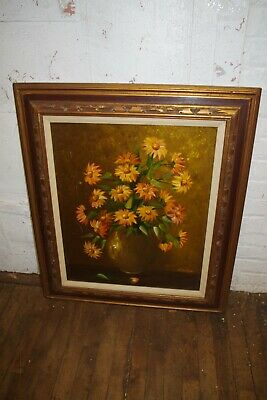 $ CDN189.11 • Buy Vintage Signed E Esther Scandale Painting Vase Daisy Flowers Still Life On Board