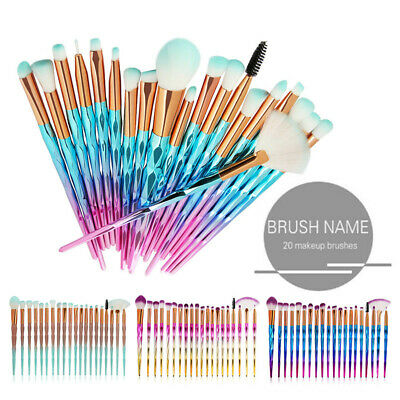 AU9.49 • Buy 20PCS Eye Make-up Brushes Diamond Unicorn Eyeshadow Eyebrow Blending Brush Set