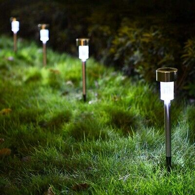 10x Solar Power LED Stake Lights Patio Outdoor Garden Lawn Path Lamp Cool White • 8.99£