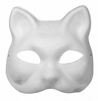 White Paper Mache Adults Cat Mask To Decorate For Kids Crafts • 5.21£