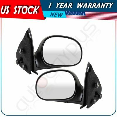$62.83 • Buy Black Housing For 1997-2004 Ford F-150 LH+RH Side Pair Power Manual Fold Mirrors