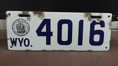 $ CDN933.37 • Buy 1916 Wyoming PORCELAIN  License Plate Tag