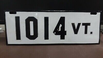 $ CDN1088.27 • Buy 1907 1908 Vermont 2nd Issue PORCELAIN  License Plate Tag