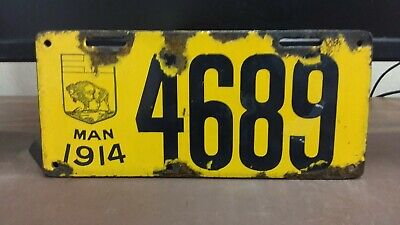 $ CDN266.67 • Buy 1914  Manitoba  PORCELAIN  License Plate Tag