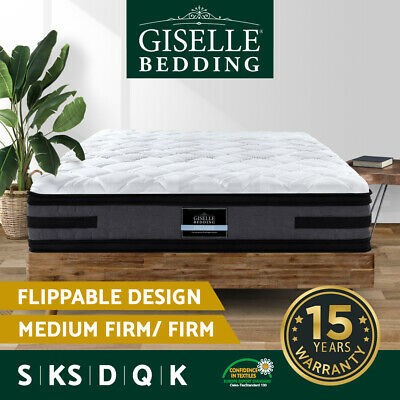 AU319 • Buy Giselle Bed Mattress QUEEN DOUBLE KING SINGLE Pocket Spring Euro Top Firm 36cm