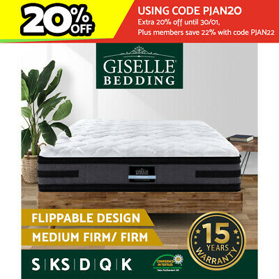 AU219.90 • Buy Giselle Mattress QUEEN DOUBLE KING SINGLE Dual Side Pocket Spring Firm Bed 36cm